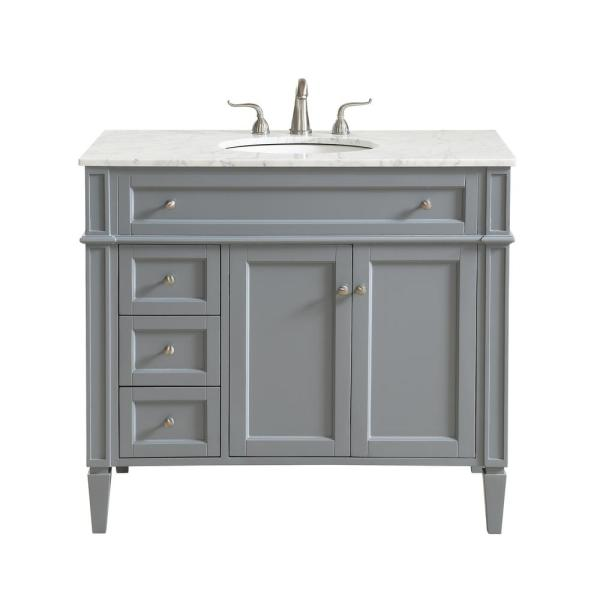 Nanticoke 40 In Single Bath Vanity W 3 Drawers 1 Shelf 2 Doors Marble Top Porcelain Sink Grey Hdvnt 25080gr The Home Depot