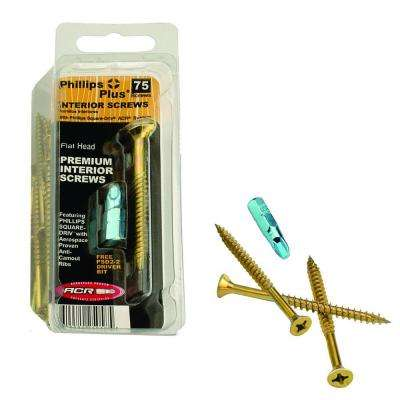 #8 x 2 in. Zinc and Yellow Square Combination Drive Flat-Head Interior Construction Screws (75-Pack)