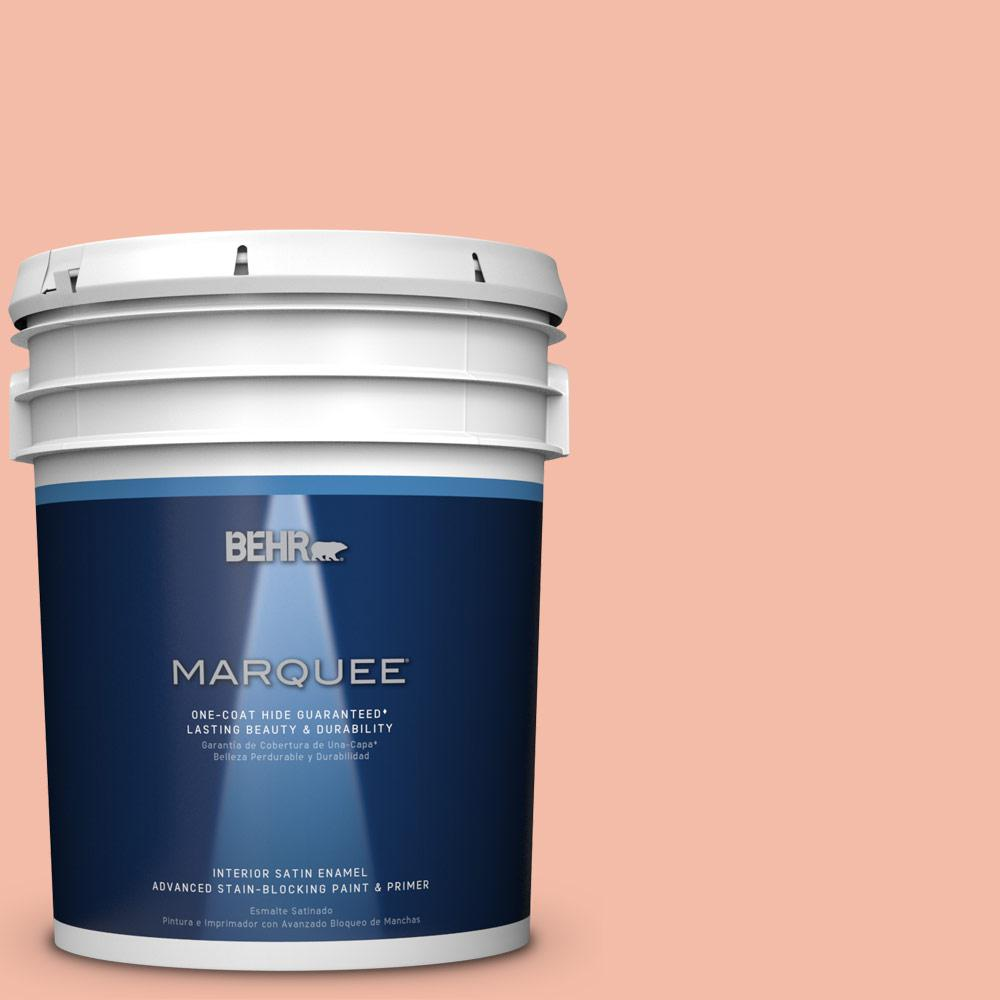 5 gal. #HDC-CT-14A Sunkissed Apricot Satin Interior Enamel Paint