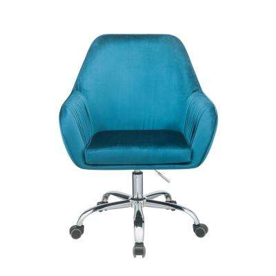 Eimet Peacock Velvet Office Chair