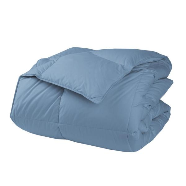 The Company Store LaCrosse LoftAIRE Extra-Warmth Porcelain Blue King Comforter