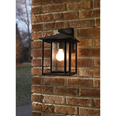 Hunnington Black Outdoor 14 in. Integrated LED Wall Lantern Sconce