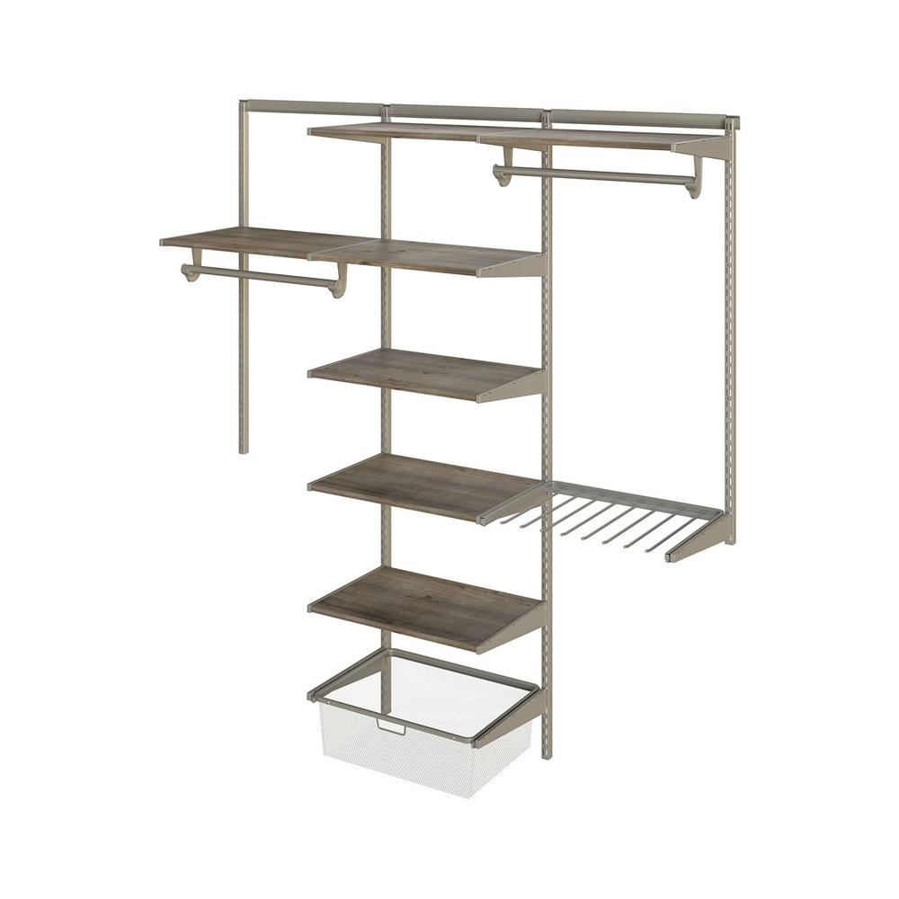 Knape & Vogt Closet Culture 16 in. D x 72 in. W x 78 in. H  with 7 Driftwood Wood Shelves Steel Closet System