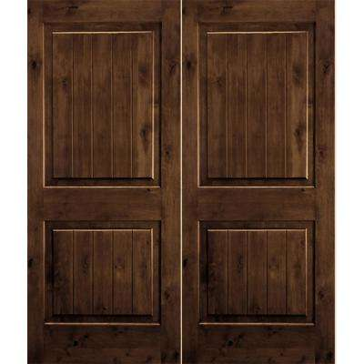 72 in. x 80 in. Rustic Knotty Alder Square Top Provincial Stain/V-Groove Right-Hand Wood Double Prehung Front Door
