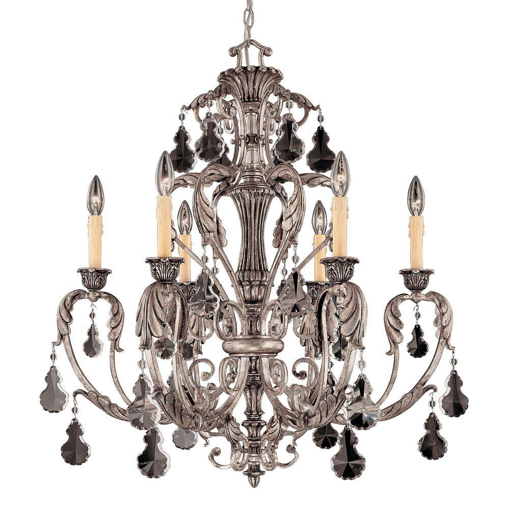 Illumine 6-Light Chandelier Silver Lace Finish
