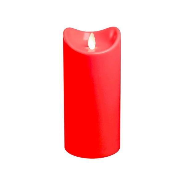 Lumabase 7 in. Red Battery Operated Pillar Candle with Moving Flame
