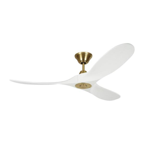 Maverick II 52 in. Indoor/Outdoor Burnished Brass Ceiling Fan with White Blades, DC Motor and 6-Speed Remote Control