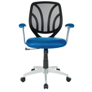 Navy Mesh Screen Back Chair with Silver Coated Arms and Base