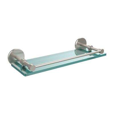 16 in. L  x 3 in. H  x 5 in. W Clear Glass Bathroom Shelf with Gallery Rail in Satin Nickel