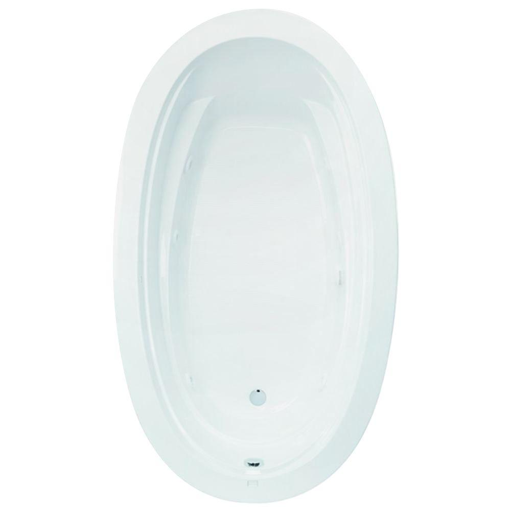 Aquatic Belmont II 72 in. Acrylic Reversible Drain Oval Drop-In Whirlpool Bathtub with Heater in White