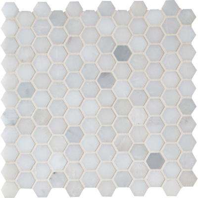 Greecian White Mini Hexagon 12 in. x 12 in. x 10mm Polished Marble Mesh-Mounted Mosaic Tile (10 sq. ft. / case)