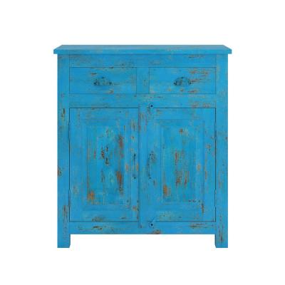 Bright Blue Distressed Routon Hand Painted 2-Door Wood Cabinet with Drawers