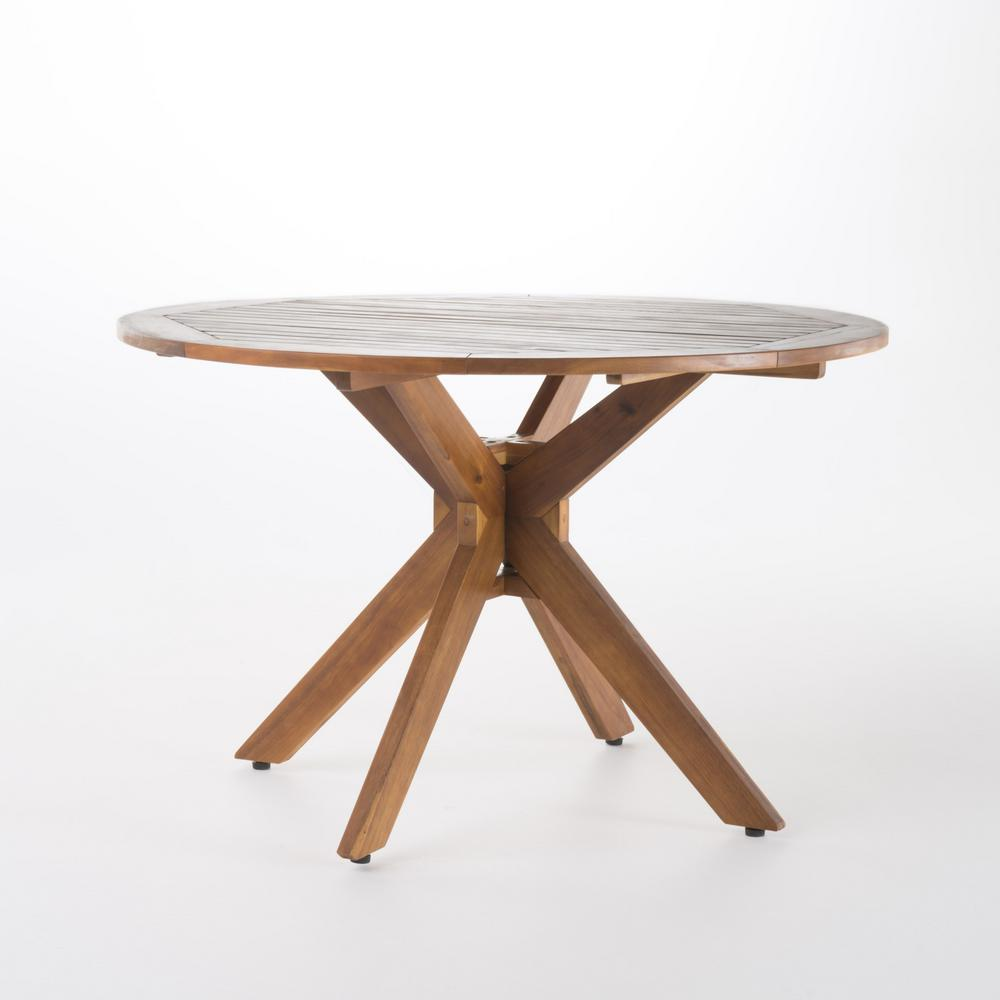 Noble House Teak Brown Round Wood Outdoor Dining Table 300546 The