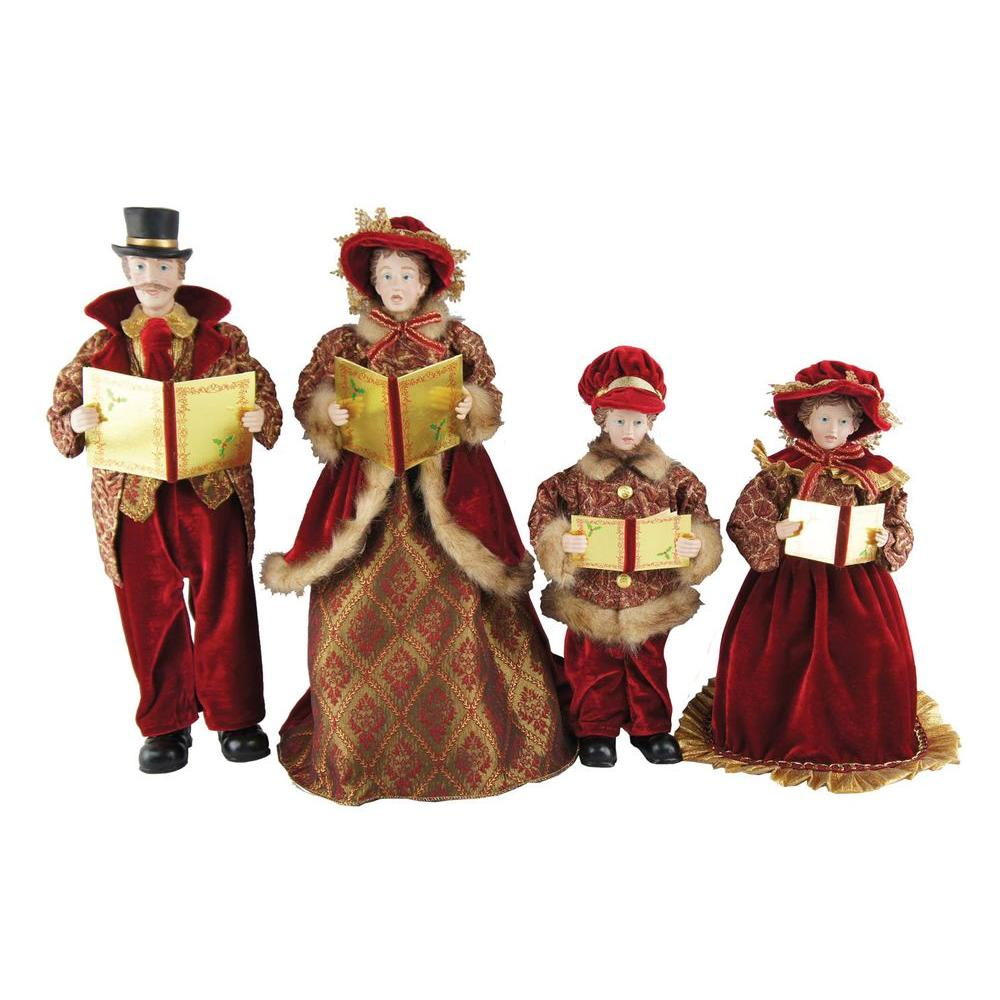 Christmas Caroling Family Set Of 4: Santa's Workshop 15 In. To 18 In. Victorian Carolers (4
