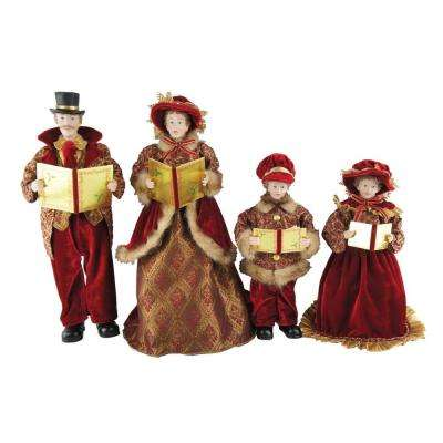 15 in. to 18 in. Victorian Carolers (4-Set) with Songbooks