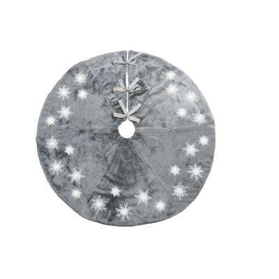 56 in. Snowflake Sequin Soft Plush Furry Light Up Round Christmas Tree Skirt in Grey