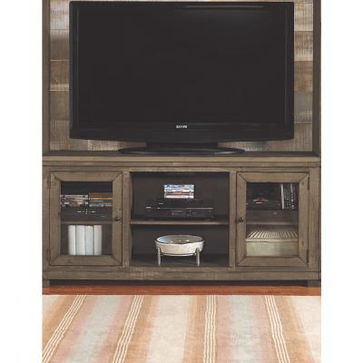 Willow 68 in. Weathered Gray Wood TV Stand Fits TVs Up to 70 in. with Storage Doors