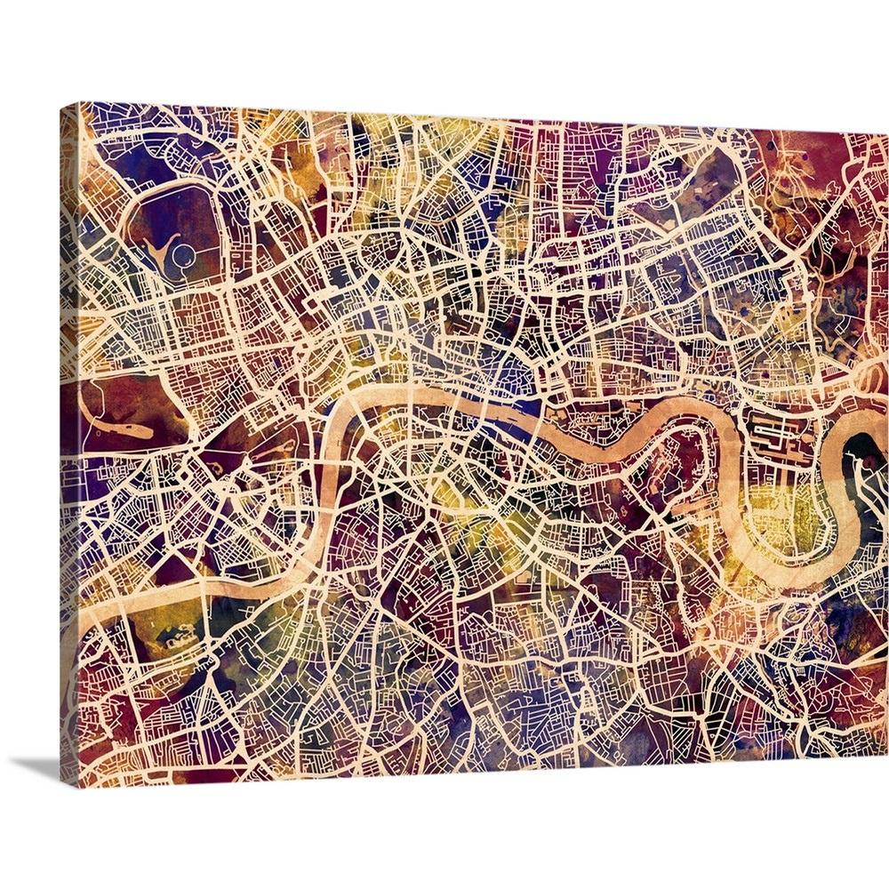 Map Of London England And Surrounding Area.Greatbigcanvas London England Street Map By Michael Tompsett