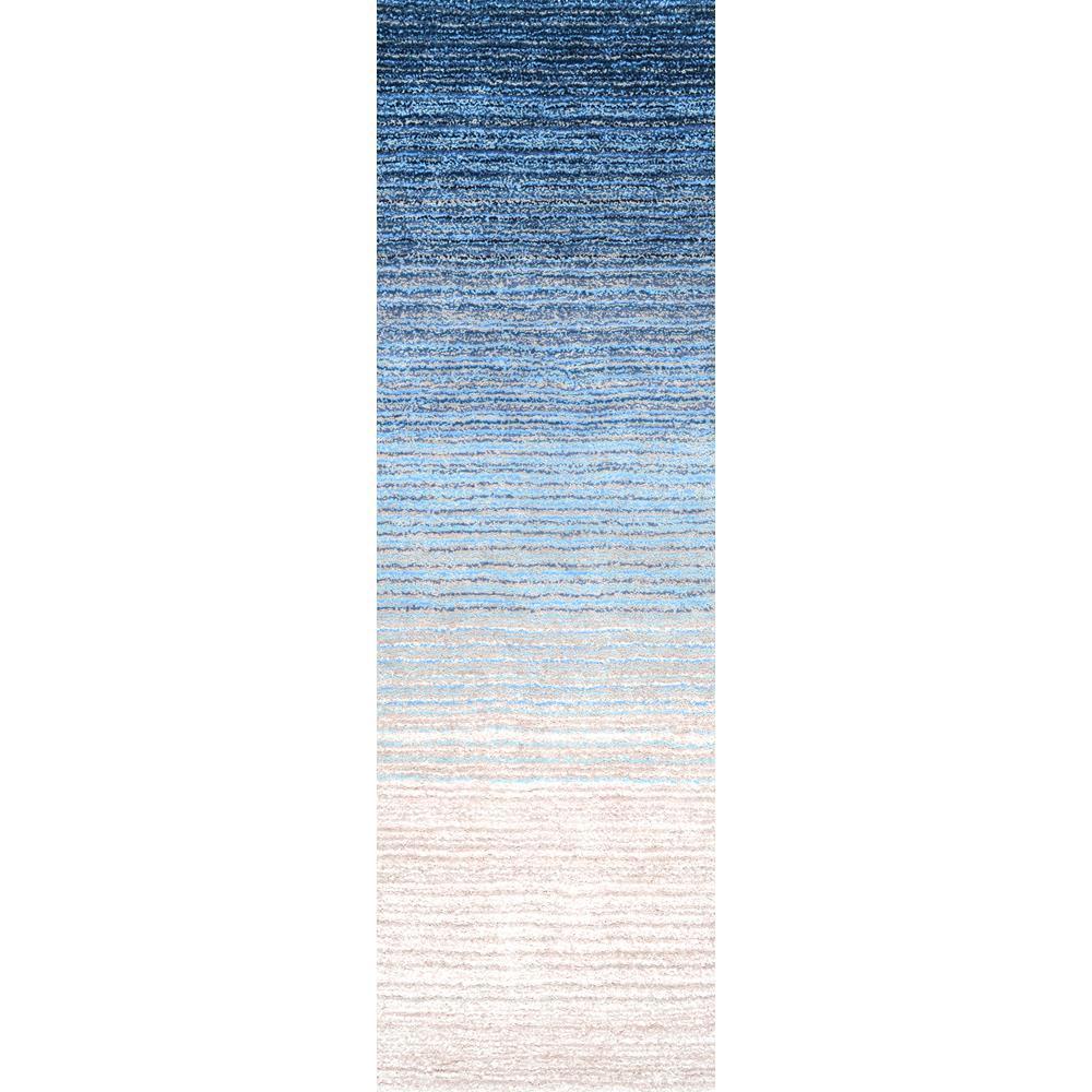 nuLOOM Drey Ombre Shag Blue 2 ft. 6 in. x 8 ft. Runner Rug