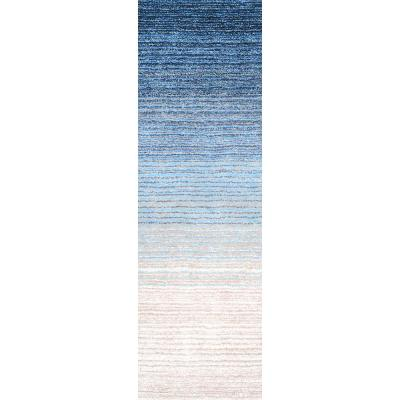 Drey Ombre Shag Blue 3 ft. x 8 ft. Runner