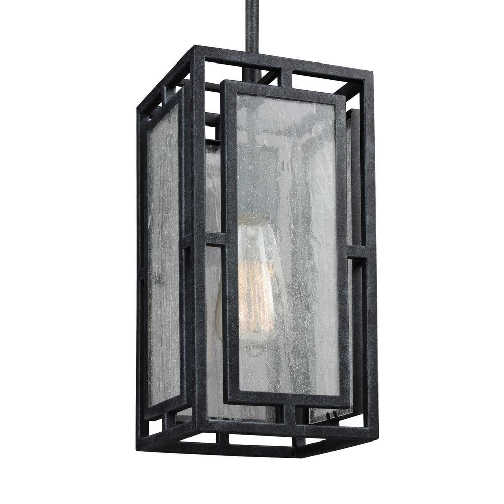 Feiss Prairielands. 1-Light Dark Weathered Zinc Mini Pendant