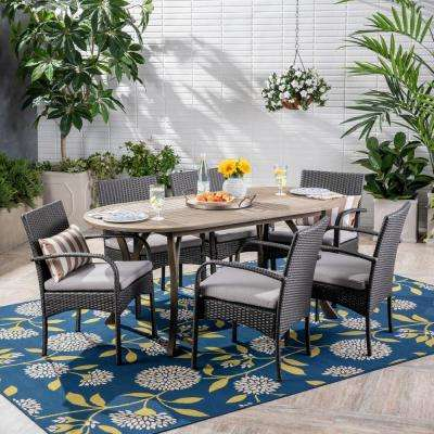 Mason Gray 7-Piece Wood and Wicker Outdoor Dining Set with Gray Cushions