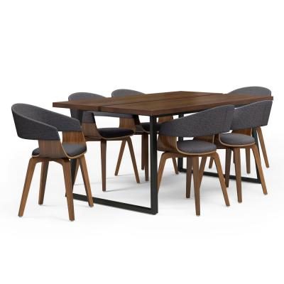 Lowell 7-Piece Dining Set with 6-Upholstered Bentwood Dining Chairs in Natural and Charcoal Grey and 66 in. Wide Table