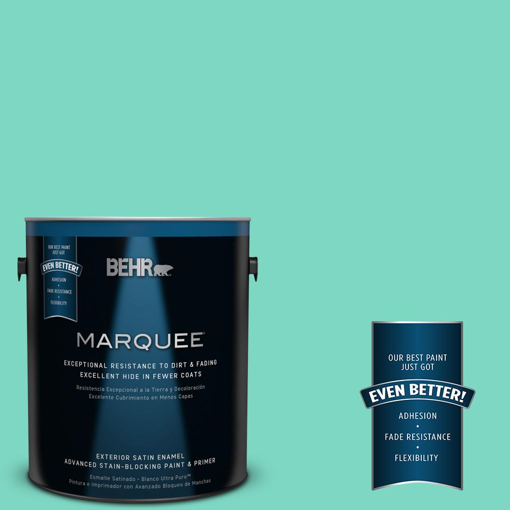 BEHR MARQUEE 1-gal. #480A-3 Mint Majesty Satin Enamel Exterior Paint