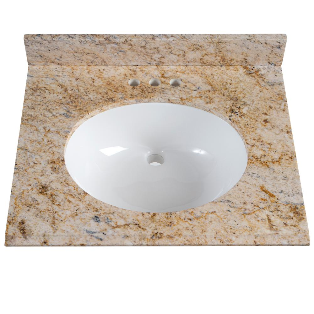 St Paul 25 In X 22 Stone Effects Vanity Top Tuscan Sun With White Sink