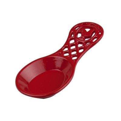 Cast Iron Rooster Spoon Rest in Red