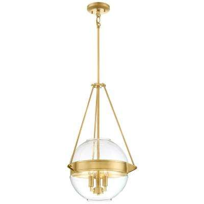 Atrio Collection 3-Light Liberty Gold Finish Pendant 15.5 in. with Clear Glass