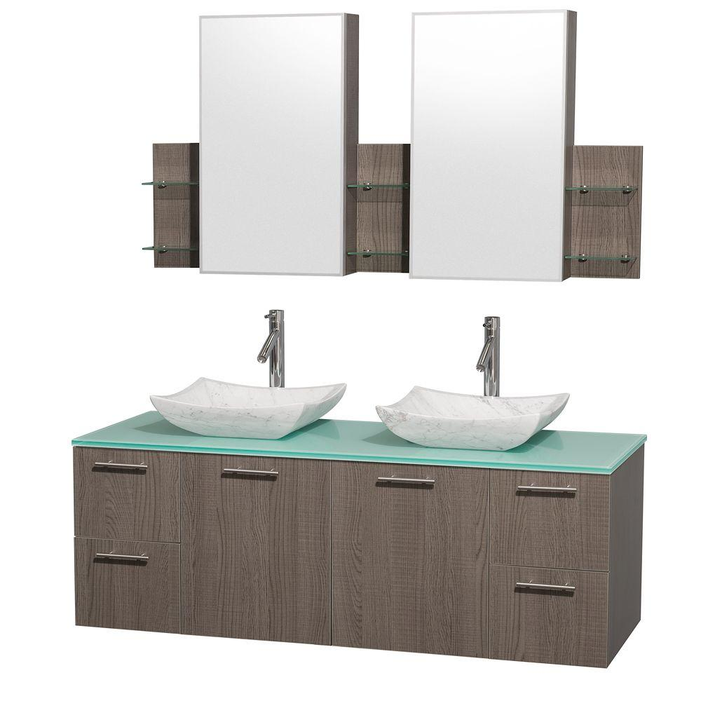 Wyndham Collection Amare 60 in. Double Vanity in Grey Oak with Glass Vanity Top in Aqua and Carrara Marble Sinks