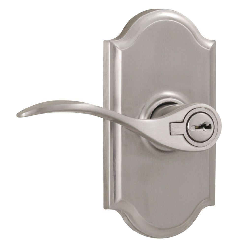 Elegance Satin Nickel Left-Hand Premiere Keyed Entry Bordeau Door Lever