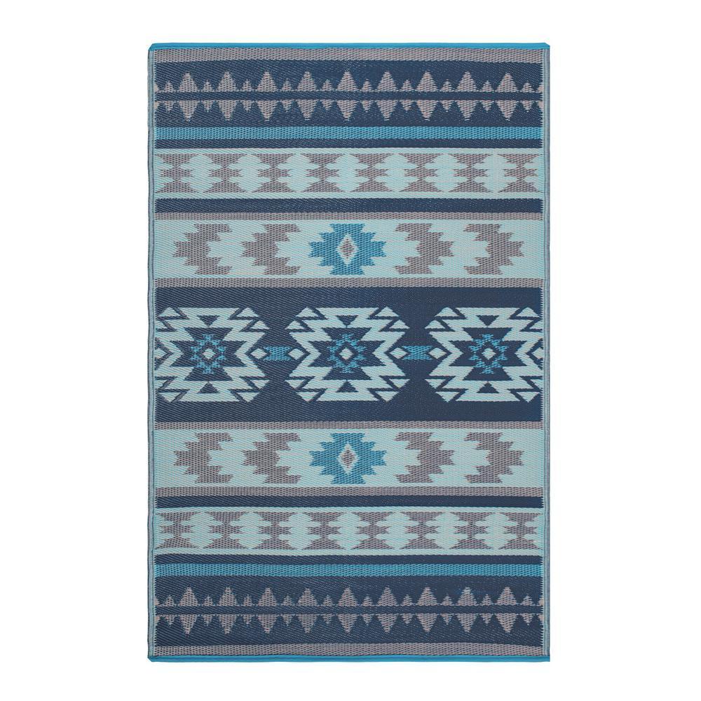 Cusco Indoor Outdoor Blue 6 Ft X 9
