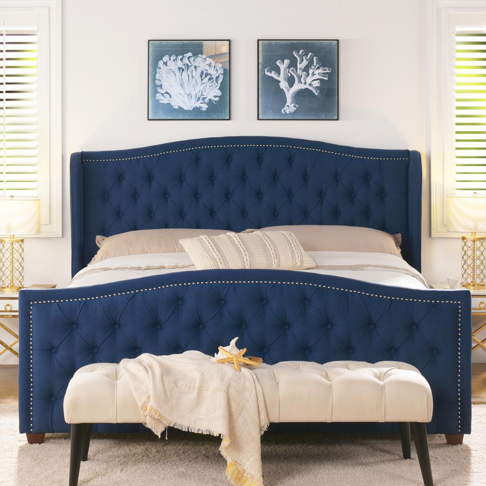 Marcella Dark Sapphire Blue King Upholstered Bed