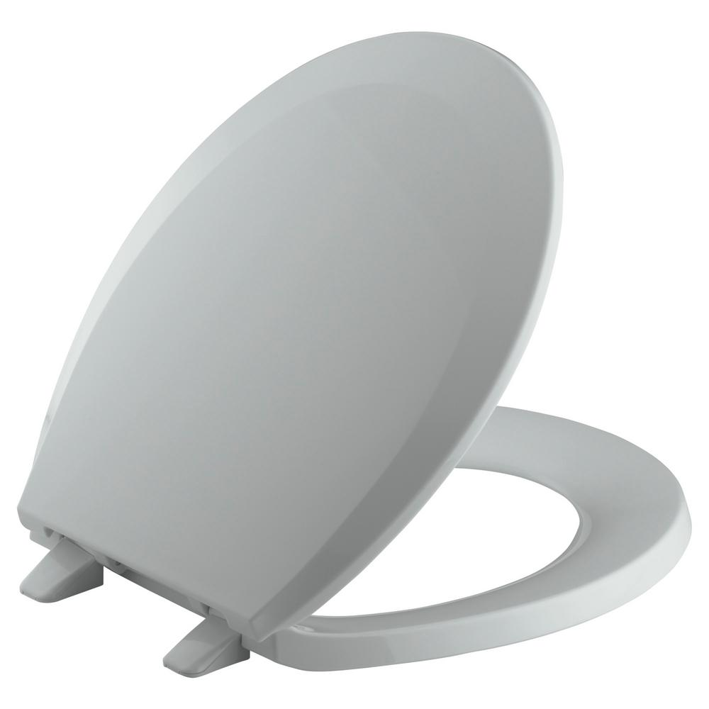 KOHLER Lustra Round Closed-Front Toilet Seat with Quick-Release Hinges in Ice Grey