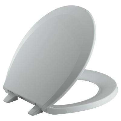 Lustra Round Closed-Front Toilet Seat with Quick-Release Hinges in Ice Grey