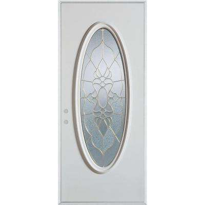 32 in. x 80 in. Traditional Patina Oval Lite Painted White Right-Hand Inswing Steel Prehung Front Door