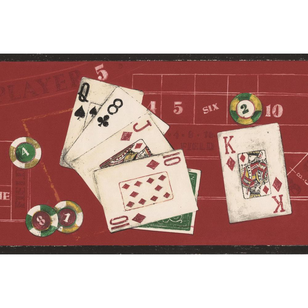 Norwall Poker Red Casino Table Poker Cards Chips Prepasted