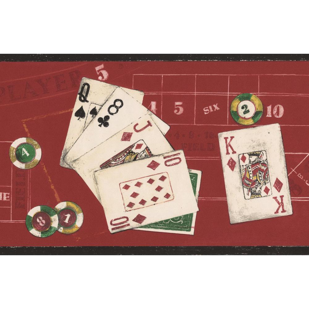 Poker Red Casino Table Poker Cards Chips Prepasted Wallpaper Border
