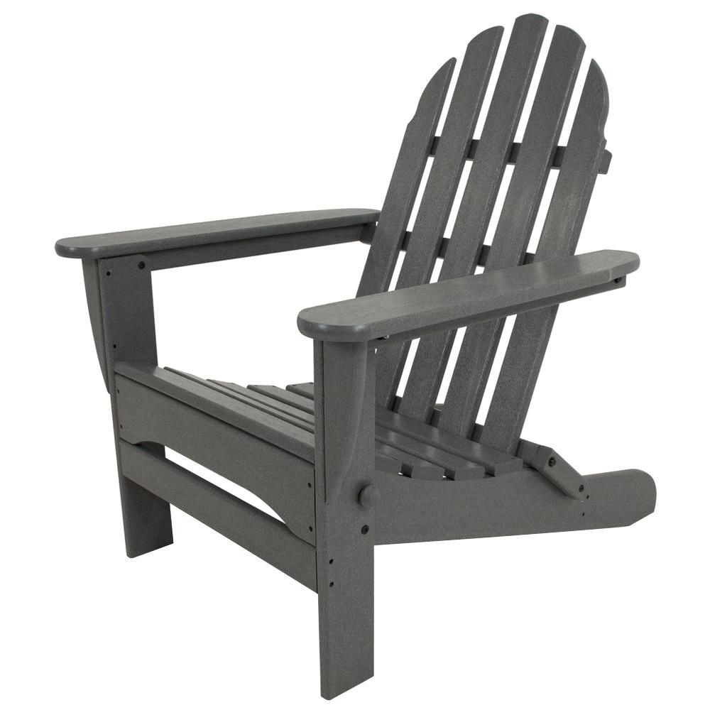 Polywood Classic Slate Grey Plastic Patio Adirondack Chair Adgy The Home Depot