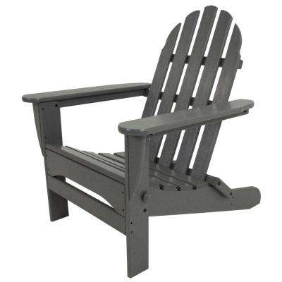 Classic Slate Grey Plastic Patio Adirondack Chair