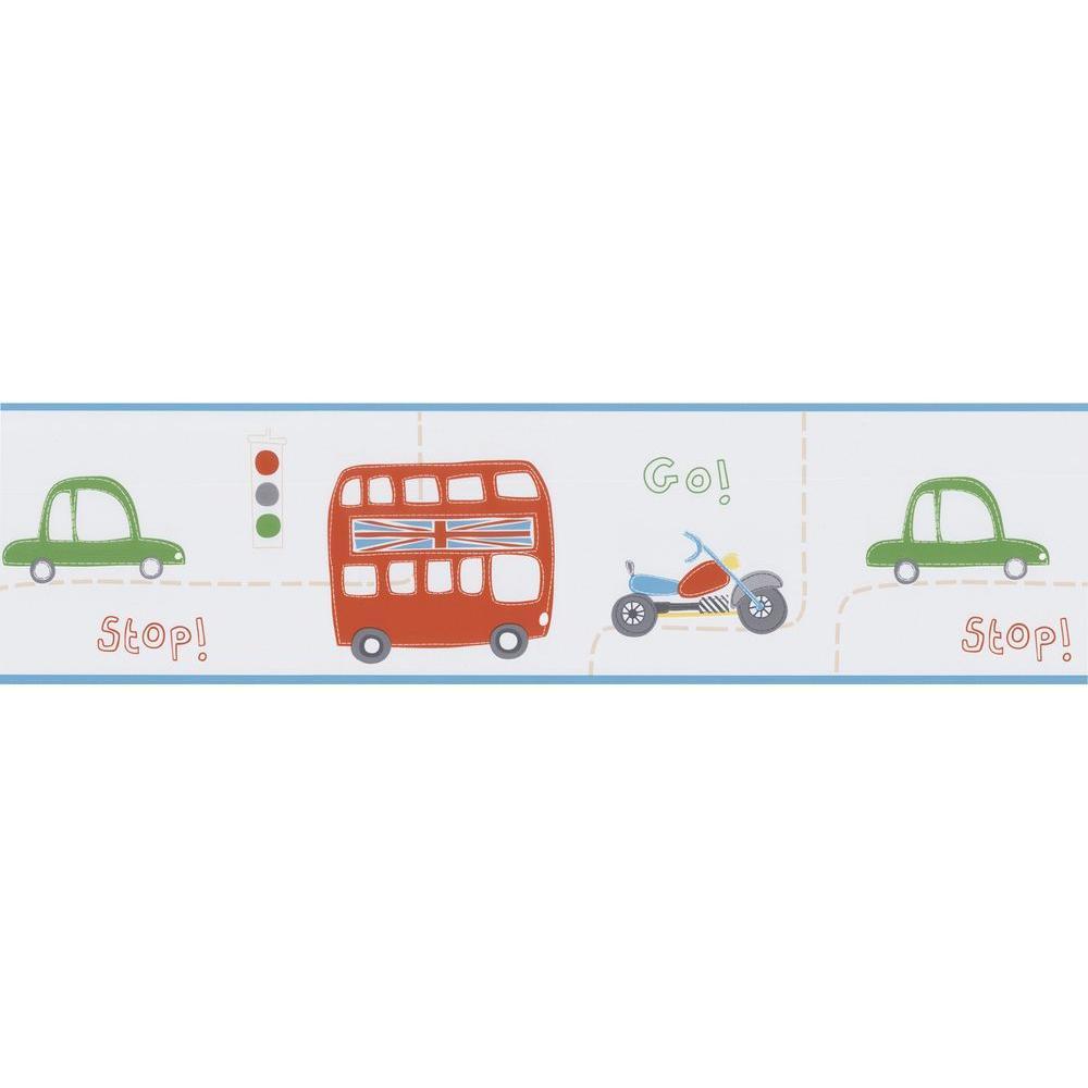 Moto London Light Blue British Cars Wallpaper Border Sample
