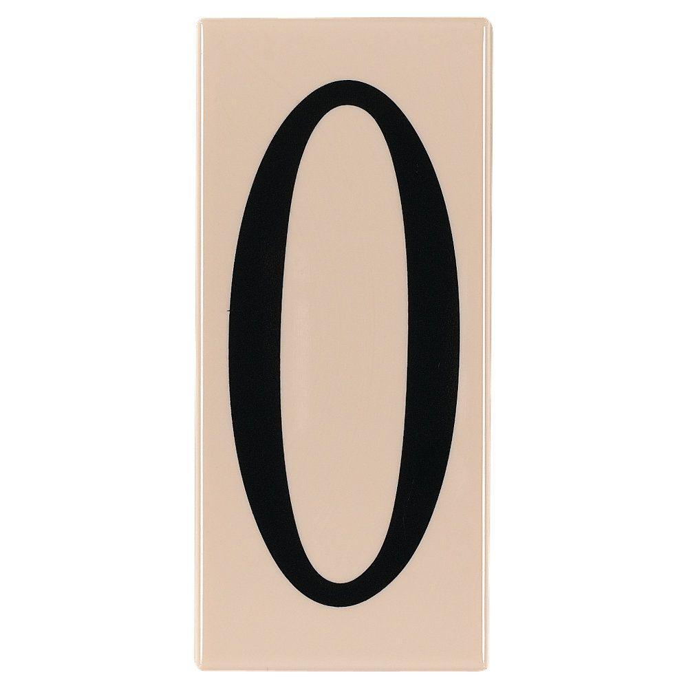 Address Light Collection Creme Plastic Number 0 Tile