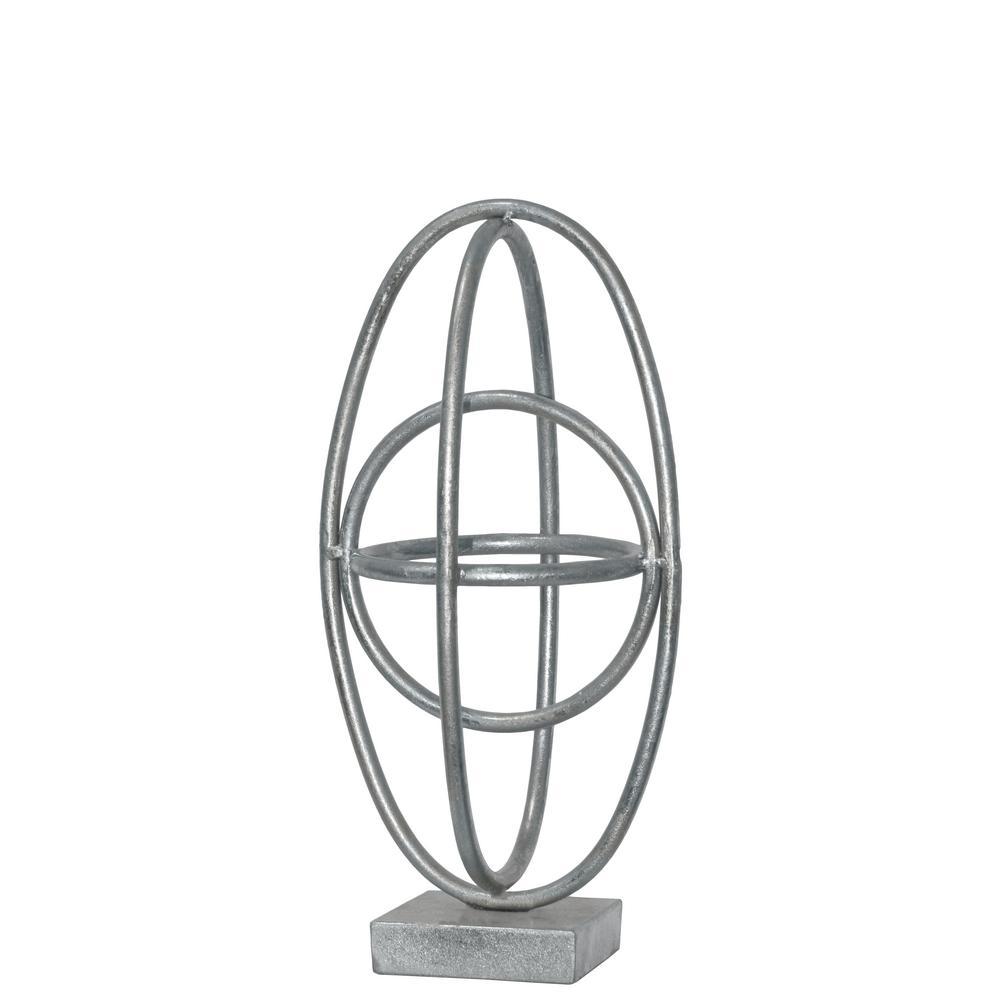 12.25 in. H Sculpture Decorative Sculpture in Silver Leaf