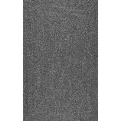 Lefebvre Casual Braided Charcoal 5 ft. x 8 ft. Indoor/Outdoor Area Rug