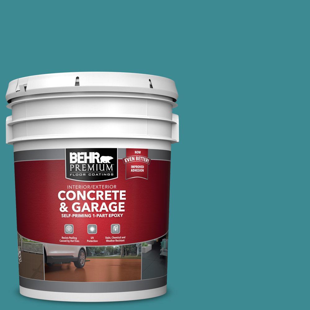 5 gal. #PFC-49 Heritage Teal Self-Priming 1-Part Epoxy Satin Interior/Exterior Concrete and Garage Floor Paint
