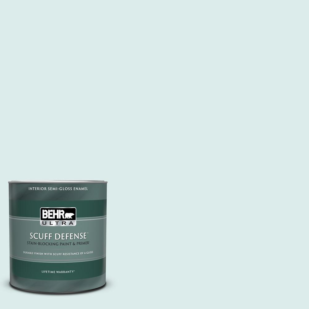 Behr Ultra 1 Qt 510e 1 Ice Folly Extra Durable Semi Gloss Enamel Interior Paint And Primer In One 375004 The Home Depot