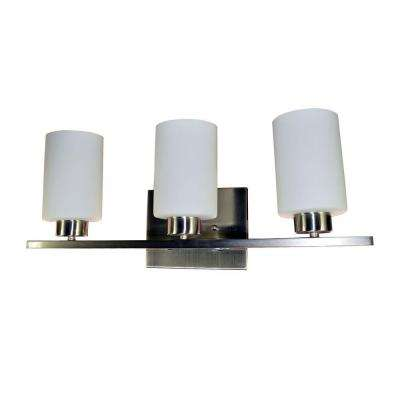 3-Light Brushed Nickel Vanity Light with Opal Glass