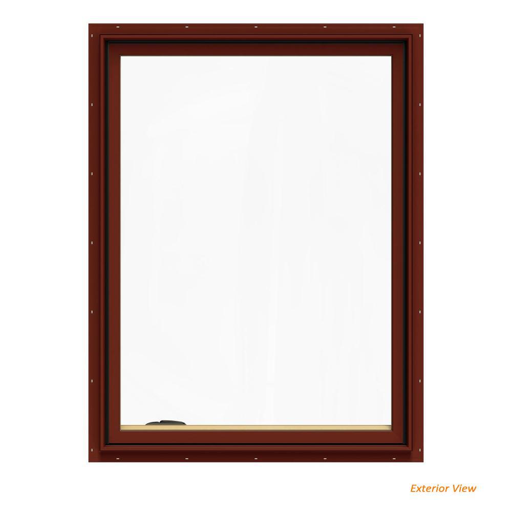 JELD-WEN 36.75 in. x 48.75 in. W-2500 Series Red Painted Clad Wood Left-Handed Casement Window with BetterVue Mesh Screen